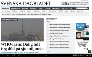 """Une photo de Paris à la Une du site du Svd avec comme titre """"7 millions de morts causés par la mauvaise qualité de l'air"""""""
